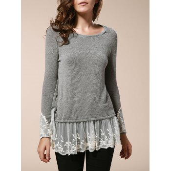 Casual Splicing Scoop Neck Loose-Fitting Long Sleeve T-Shirt For Women
