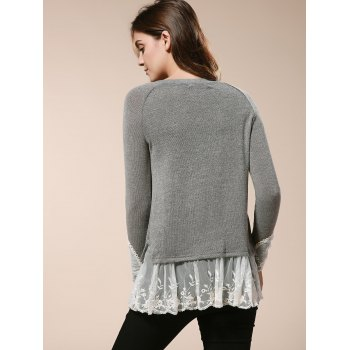 Casual Splicing Scoop Neck Loose-Fitting Long Sleeve T-Shirt For Women - DEEP GRAY S