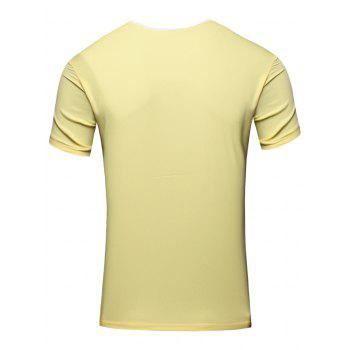 Personality Round Neck Letter Patch Short Sleeve Joker Men's T-Shirt - YELLOW M