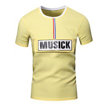 Personality Round Neck Letter Patch Short Sleeve Joker Men's T-Shirt - YELLOW L