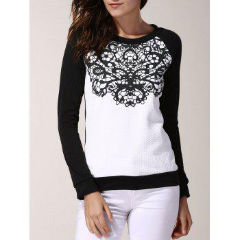 Stylish Women's Round Neck Long Sleeve Color Spliced Printed Sweatshirt