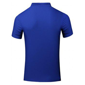 Fashion Turn-Down Collar Letter Print Short Sleeve Men's Polo T-Shirt - BLUE BLUE