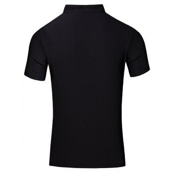Fashion Turn-Down Collar Letter Print Short Sleeve Men's Polo T-Shirt - L L