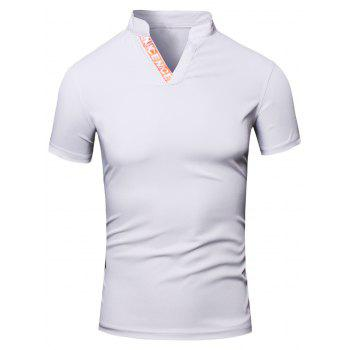 Fashion Turn-Down Collar Letter Print Short Sleeve Men's Polo T-Shirt - WHITE WHITE