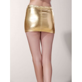 Stylish Low-Waist Solid Color Faux Leather Bodycon Mini Skirt For Women - ONE SIZE(FIT SIZE XS TO M) ONE SIZE(FIT SIZE XS TO M)