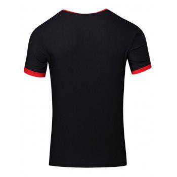 Simple Men's Round Neck Color Block Short Sleeve T-Shirt - BLACK L