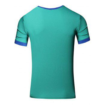 Simple Men's Round Neck Color Block Short Sleeve T-Shirt - GREEN L
