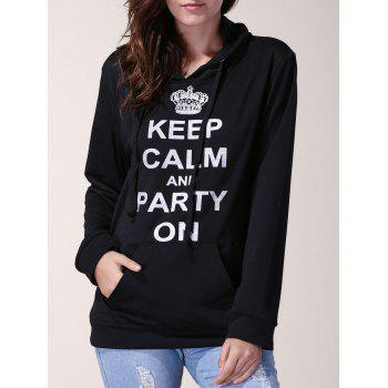 Active Letter Printed Pocket Design Hooded Pullover Hoodie For Women