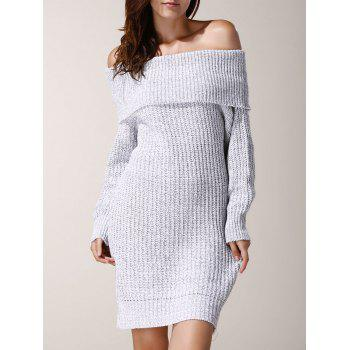 Chic Low-Cut Off-The-Shoulder Solid Color Long Sleeve Sweater Dress For Women
