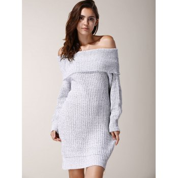 Chic Low-Cut Off-The-Shoulder Solid Color Long Sleeve Sweater Dress For Women - LIGHT GRAY ONE SIZE(FIT SIZE XS TO M)