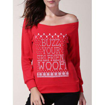Skew Neck Long Sleeve Letter Pattern Women's Christmas Sweatshirt