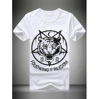 Plus Size Round Neck Letter Tiger Printed Short Sleeve Men's T-Shirt