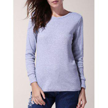 Attractive Jewel Neck Long Sleeve Solid Color Bodycon Pullover T-Shirt For Women