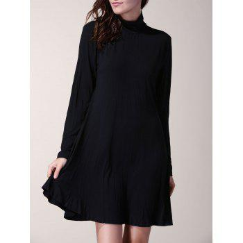 Women's Long Sleeve Solid Color Turtleneck A-Line Dress