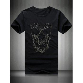 Plus Size Men's Round Neck Skull Printed Short Sleeve T-Shirt