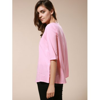 Fashionable Women's Round Neck 3/4 Sleeve Solid Color Loose-Fitting Blouse - PINK L