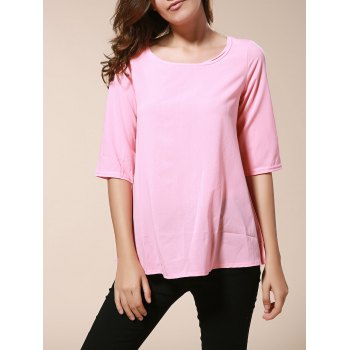 Buy Fashionable Women's Round Neck 3/4 Sleeve Solid Color Loose-Fitting Blouse PINK