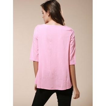 Fashionable Women's Round Neck 3/4 Sleeve Solid Color Loose-Fitting Blouse - PINK XL