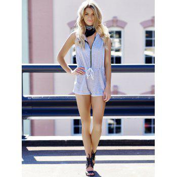 Casual Hooded Sleeveless Zippered Waist Drawstring Women's Romper - L L