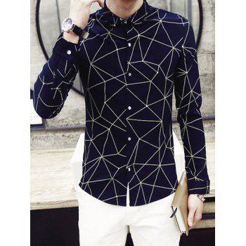Fashion Turn-Down Collar Irregular Geometric Printed Long Sleeve Men's Shirt