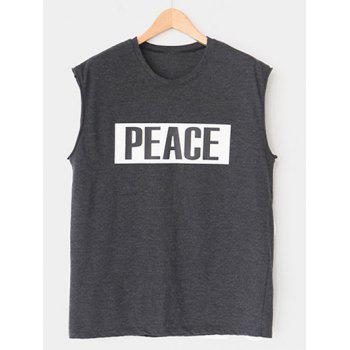 Modish Round Neck Letter Printed Tank Top For Men
