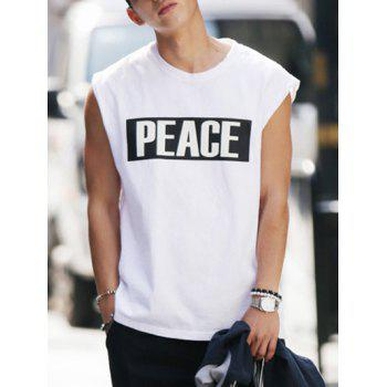 Modish Round Neck Letter Printed Tank Top For Men - WHITE XL