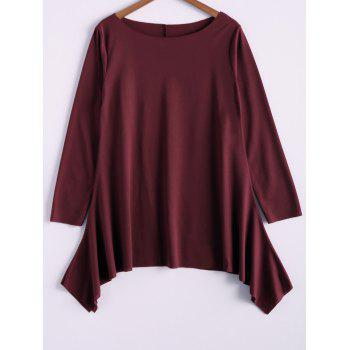 Casual Skew Collar Long Sleeve T-Shirt For Women - WINE RED M