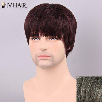 Men's Straight Siv Hair Full Bang Human Hair Wig