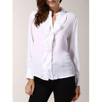 Attractive Stand Collar Solid Color Ruffles Spliced Chiffon Blouse For Women