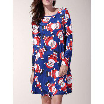 Attractive Long Sleeve Cartoon Santa Printed Mini Dress For Women