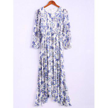 Bohemian Style Round Collar Long Sleeve Tiny Floral Print Chiffon Spring Dress For Women - BLUE BLUE