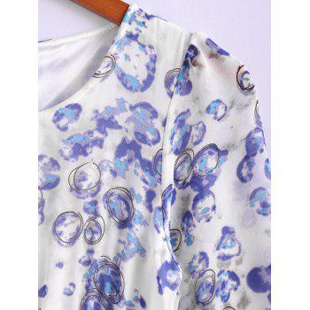 Bohemian Style Round Collar Long Sleeve Tiny Floral Print Chiffon Spring Dress For Women - L L
