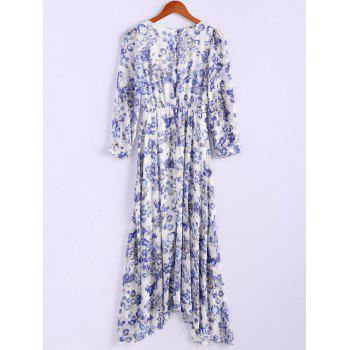 Bohemian Style Round Collar Long Sleeve Tiny Floral Print Chiffon Spring Dress For Women - BLUE L