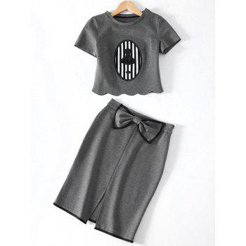 Stylish Sequined Short Sleeve Crop Top + Skirt For Women - GRAY M
