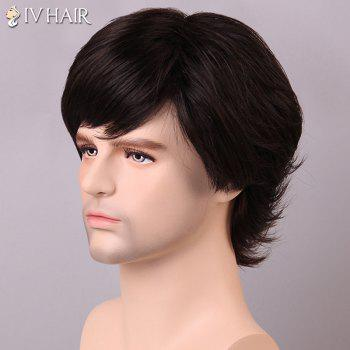 Buy Men's Shaggy Siv Hair Inclined Bang Human Wig BLACK