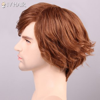 Men's Shaggy Siv Hair Curly Inclined Bang Human Hair Wig - AUBURN BROWN