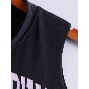 Tiger and Letter Print Loose-Fitting Cotton Tank Top - DEEP GRAY DEEP GRAY