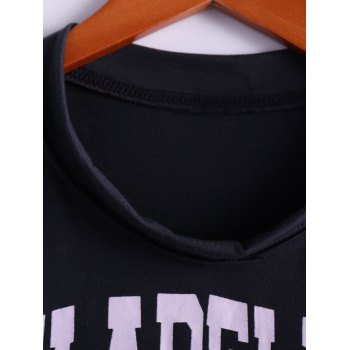 Tiger and Letter Print Loose-Fitting Cotton Tank Top - DEEP GRAY ONE SIZE