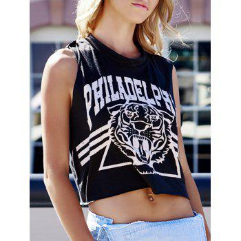 Tiger and Letter Print Loose-Fitting Cotton Tank Top
