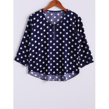 Casual Polka Dot Zipper V-Neck 3/4 Sleeve Women's T-Shirt