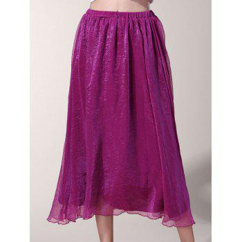 Chic Elastic Waist Chiffon Pure Color Women's Maxi Skirt
