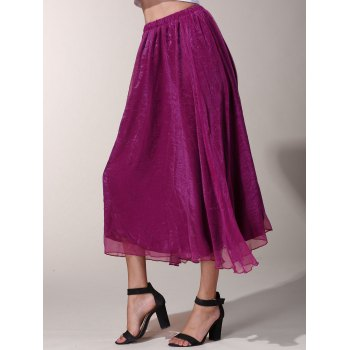 Chic Elastic Waist Chiffon Pure Color Women's Maxi Skirt - L L