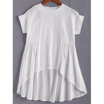 Stylish Jewel Neck Short Sleeve Asymmetrical White Loose Women's T-Shirt