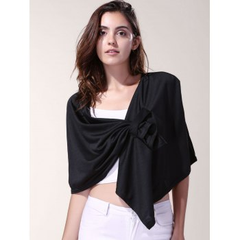 Vintage Pleated Solid Color Cloak Cape For Women - BLACK BLACK
