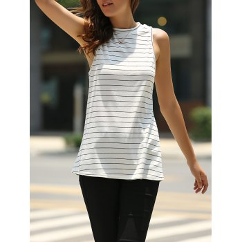 Fashionable Sleeveless Round Neck Striped T-Shirt For Women