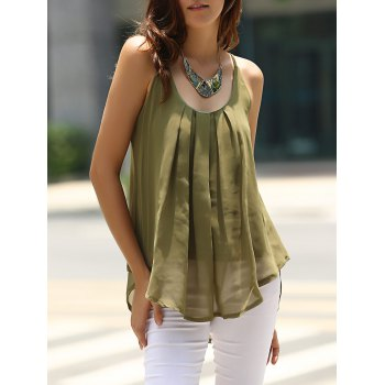 Buy Charming Spaghetti Strap Solid Color Chiffon Women's Tank Top ARMY GREEN