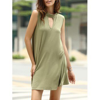Stylish Keyhole Neckline Solid Color Sleeveless Dress For Women