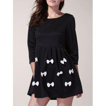 3/4 Sleeve Scoop Neck Bowknot Decorated Dress For Women - BLACK S