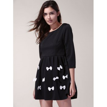 3/4 Sleeve Scoop Neck Bowknot Decorated Dress For Women - BLACK BLACK
