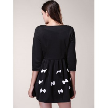3/4 Sleeve Scoop Neck Bowknot Decorated Dress For Women - XL XL